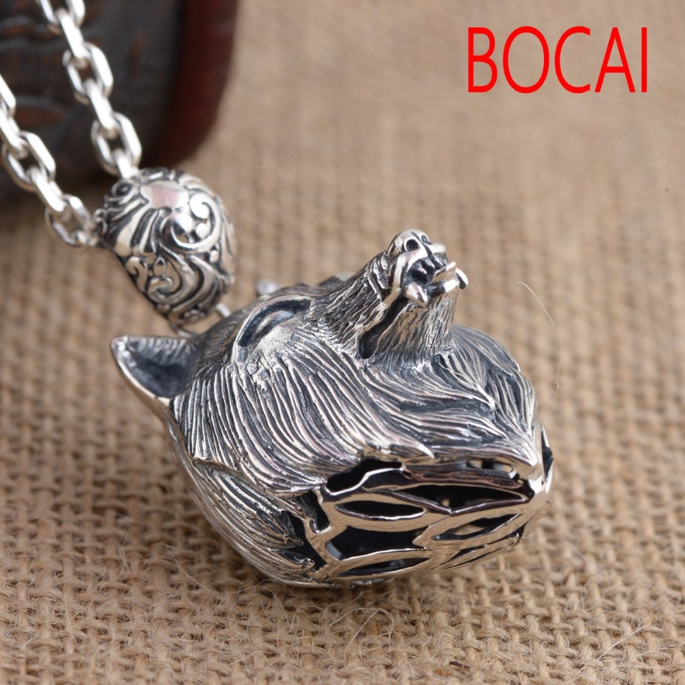 S925 wholesale sterling silver pendant Antique Silver wolf retro style unique male style gift unique wolf head style zinc alloy car decorative sticker silver