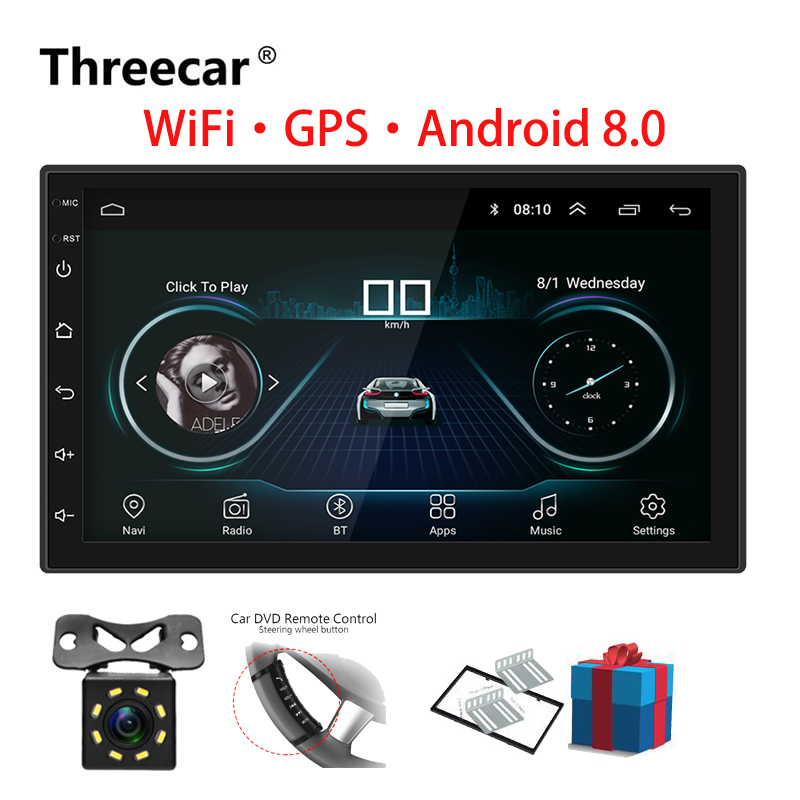 2 Din Car Radio Android 8.0  Universal GPS Navigation Bluetooth Touchscreen Wifi Car Audio Stereo FM USB Car Multimedia MP5(China)