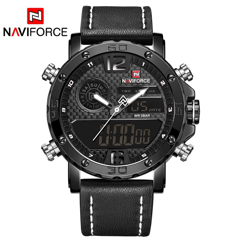 Men Watches NAVIFORCE Top Brand Luxury Military Sport Men's Leather Quartz Watch Male Led Analog Digital Clock Relogio Masculino 2017 new luxury brand naviforce men leather sport military watch dual time quartz analog digital wristwatch relogio masculino