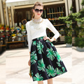 Spring 2017 New Free Shipping Women Clothing Set  Fashion princess Casual Sets with necklace Clothes Tops + skirts Two Pieces