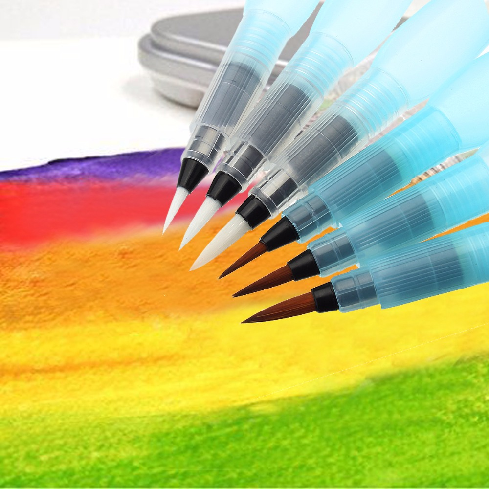 6PCS S/M/L Watercolor Brush pen Art Markers Water Tank Calligraphy Drawing Pen Beginner gift стоимость