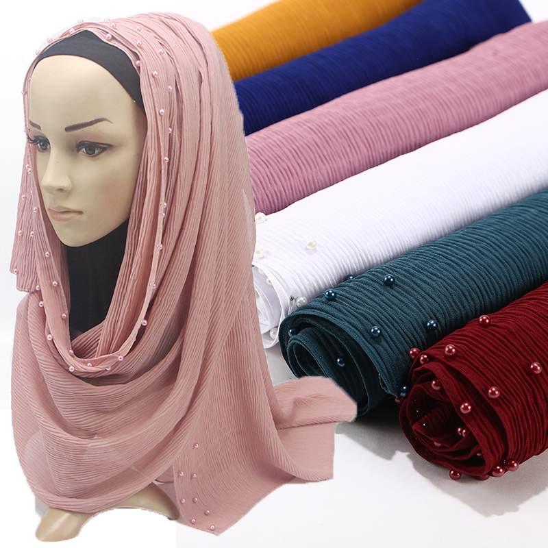 Excellent Quality Bubble Chiffon Hijab Pearl Wrinkled Scarf Crumple Shawls Muslim Headband Scarves/scarf Wholesale 10PC/LOT