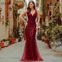 Burdeos vestidos de noche para las mujeres bonito EP07886 elegante cuello en V lentejuela sirena boda Formal vestido Abendkleider 2021