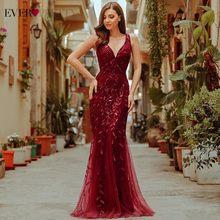 Burgundowe suknie wieczorowe dla kobiet Party Ever Pretty EP07886 eleganckie dekolt w serek z syrenką z cekinami ślubna suknia wieczorowa Abendkleider 2021