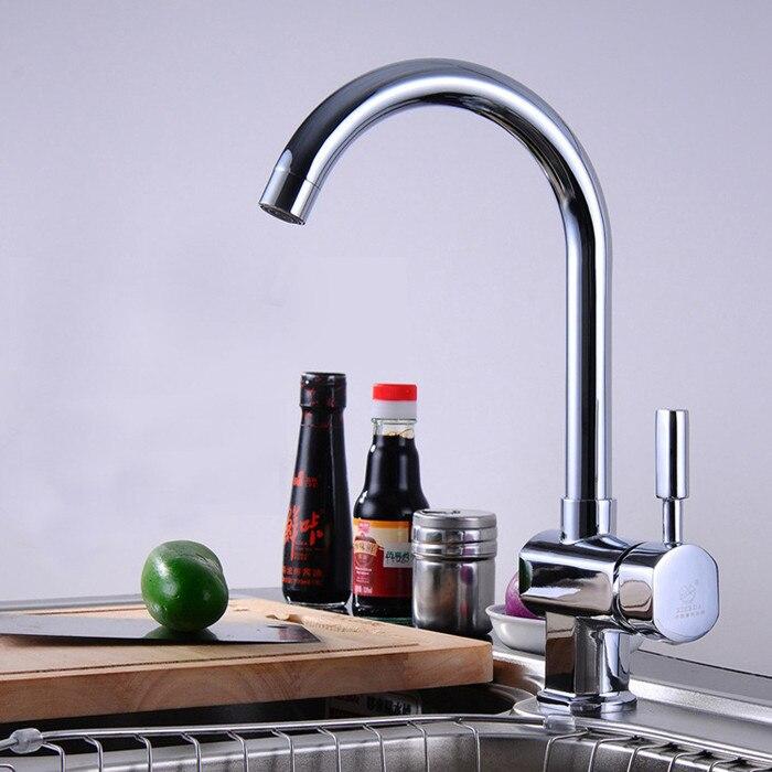 Chrome Kitchen Sink Faucet Brass Mixer Kitchen Tap 2pcs Plumbing Hoses