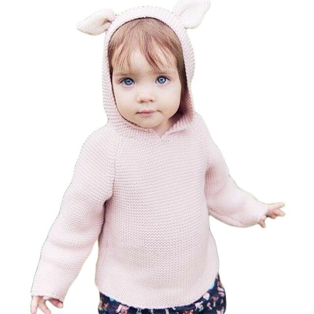 Baby Boys Girls Sweaters Cute Rabbit Ear Hooeded Knitted Cotton Sweater 2016 New Arrival Beige Light Brown INS Hot 12M-5Y GW47