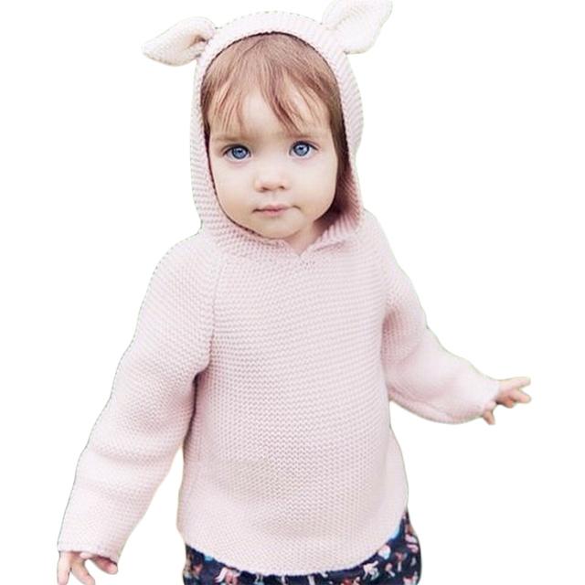 Los bebés Varones Suéteres Niñas Hooeded Lindo Del Oído de Conejo de Punto de Algodón suéter 2016 de la Nueva Llegada de Color Beige Marrón Claro INS Caliente 12M-5A GW47