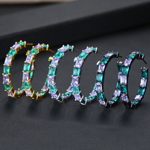 SisCathy 2019 Hot Fashion Jewelry Charms Elegant Big Round Hoop Earrings For Women Trendy Crystal 3Colors