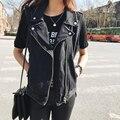 Мода Свободные Женщин Джинсовые Жилеты 2016 черный белый синий SleevelessTurn вниз Воротник Пальто Джинсовой Безрукавки A765