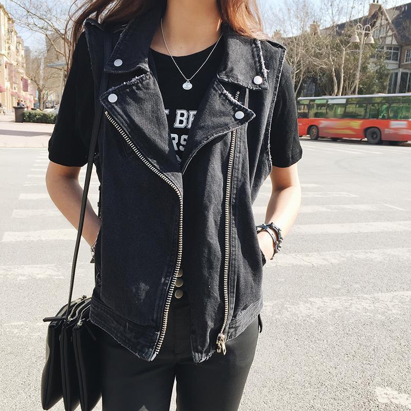 Fashion Loose Womens Denim Vests 2016 black white blue ...