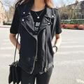 Moda Loose Mujeres Chalecos de Mezclilla 2016 negro blanco azul SleevelessTurn abajo Abrigo Chaqueta Sin Mangas de Mezclilla A765