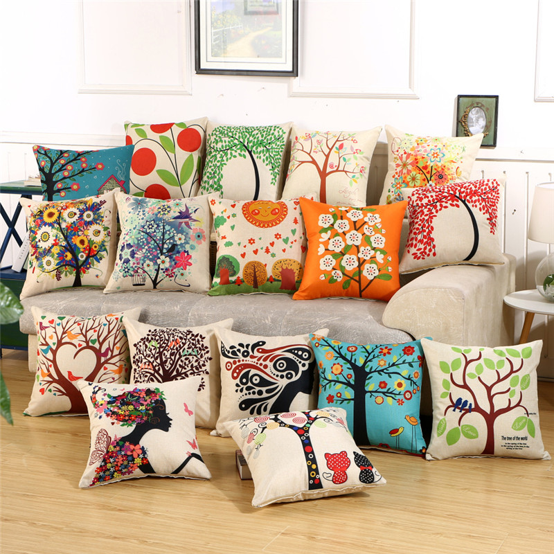 Hap-Deer Cushions Flower Decorative-Pillow Sofa For Car Almofadas Vintage New Staly Tree