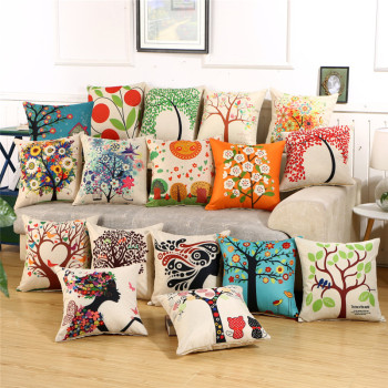 Fashion Flower Sofa Cushions Pillow Made With Linen Material For Car And Sofa