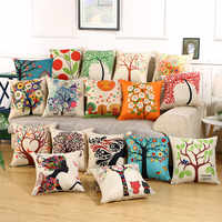 hap-deer sofa decorative pillow linen cushions for car Fashion flower almofadas vintage New Staly Tree