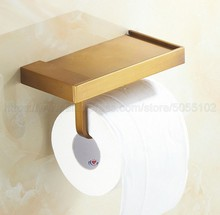 1PC New Brass bathroom paper phone holder with shelf bathroom Mobile phones towel rack toilet paper holder tissue boxes zba170