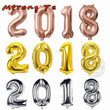 Mtrong Te 4pcs 16 inch rose gold silver 2018 number foil helium balloon for happy new year party decoration Celebration Supplies