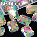 13x18mm 24 pcs Rectangular octagonal Clear Crystal AB Sew On Rhinestones Flatback 2 Holes Sewing Stones For Wedding Dress Y3268