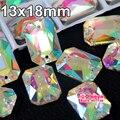 13x18mm 24 unids Rectangular octagonales Clear Crystal AB Cose en Los Rhinestones Del Flatback 2 Agujeros de Coser Para El Vestido de novia Y3268