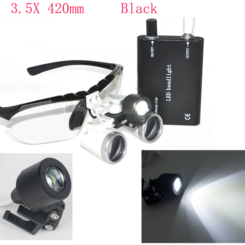 Sale! Dental equipment Surgical Medical dental Loupes dental glasses 3.5X 420mm +LED Head Light Lamp Black dental lab Loupes hot sale g7 dental equipment surgical dental glasses 3 5x 420mm led head light lamp dental lab blue aa medical dental loupes