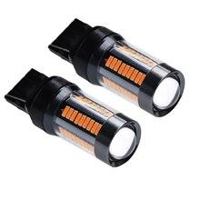 2 bombillas LED ámbar amarillo naranja T20 7440 W21W WY21W bombillas Led para coche Luz de respaldo de marcha atrás Freno de cola DRL intermitente lámpara Auto 12v 24v