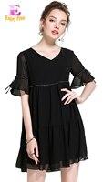 Alta Qualidade 10% OFF peito 96-126 cm chiffon elegante verão 2017 preto vestido de mulheres plus size manga curta uma linha frisado solto 5XL