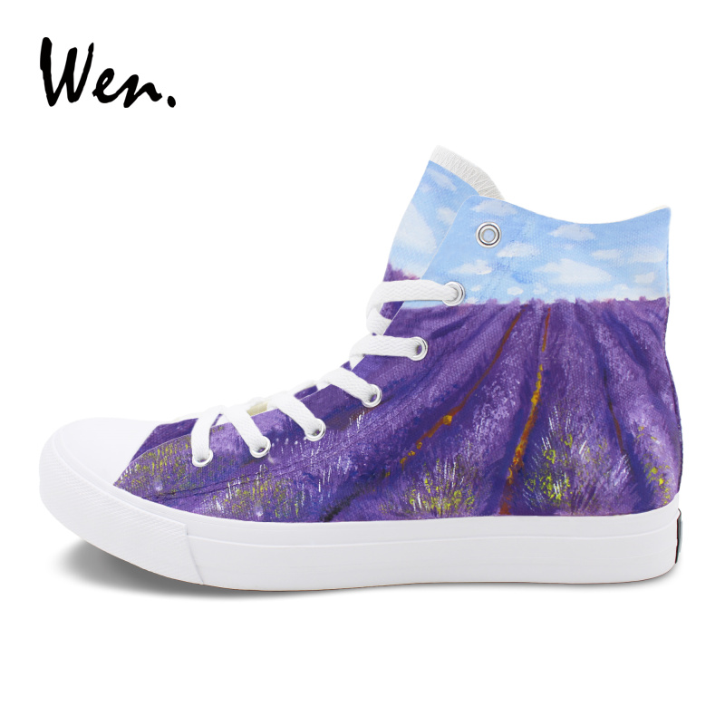 Wen Custom Shoe High Top Hand Painted Canvas Shoes Design Provence Lavender Graffiti Painting Sneakers for Men Women e lov women casual walking shoes graffiti aries horoscope canvas shoe low top flat oxford shoes for couples lovers