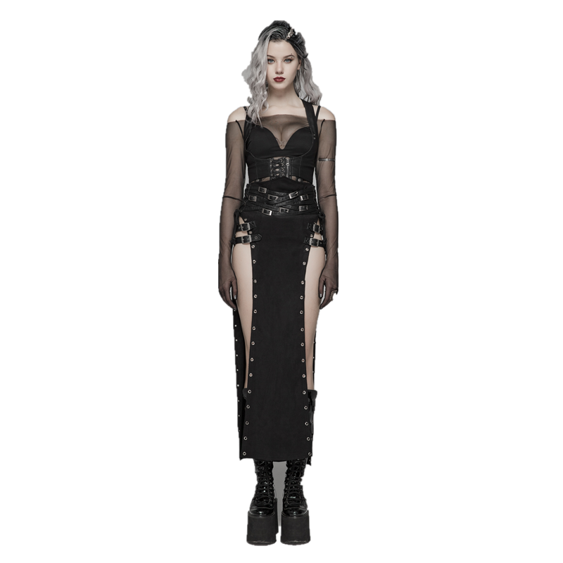 PUNK RAVE Women Gothic Style Sexy Skirt Steampunk Rock Copslay Stage Skirt Personality Hip Hop Streetwear Skirts