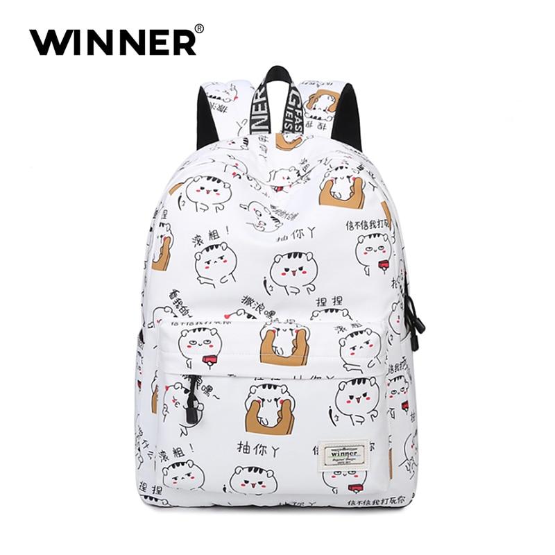 WINNER Cute Animal Printing Schol Backpack for Teenagers Children Canvas Backpack Cat Casual Women Kids Rucksack