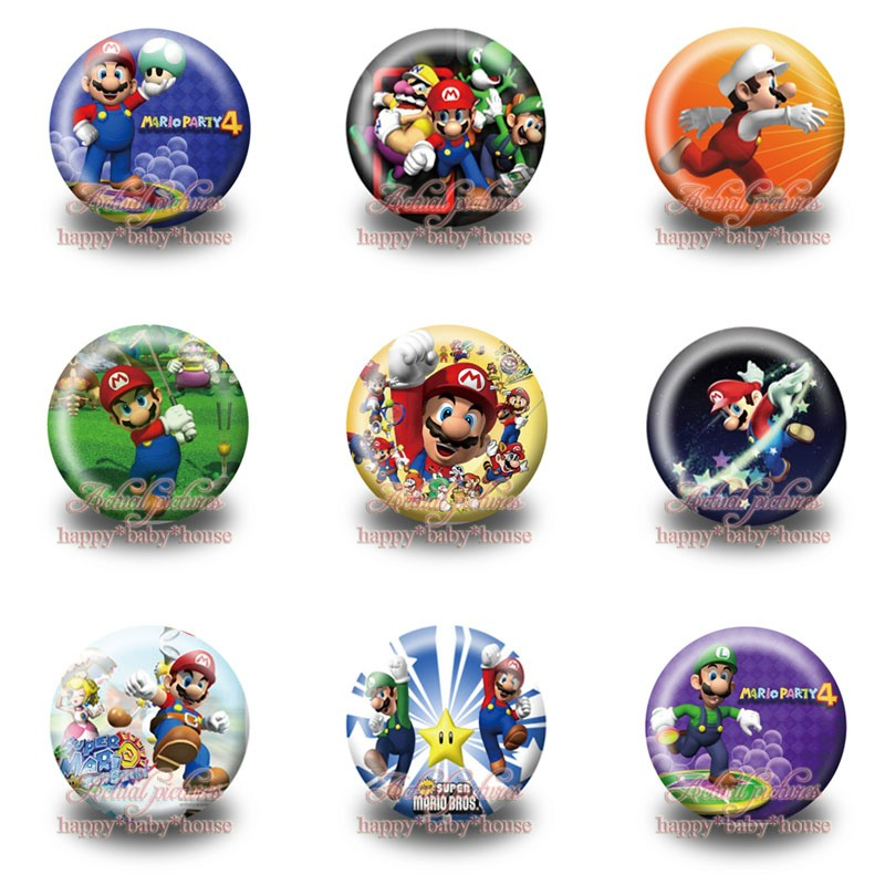 Mixed 45Pcs Super Mario Bros Cute Buttons Pins Badges,Round Badges,30MM Diameter,Clothing/Bags Accessories Birthday Party Gifts