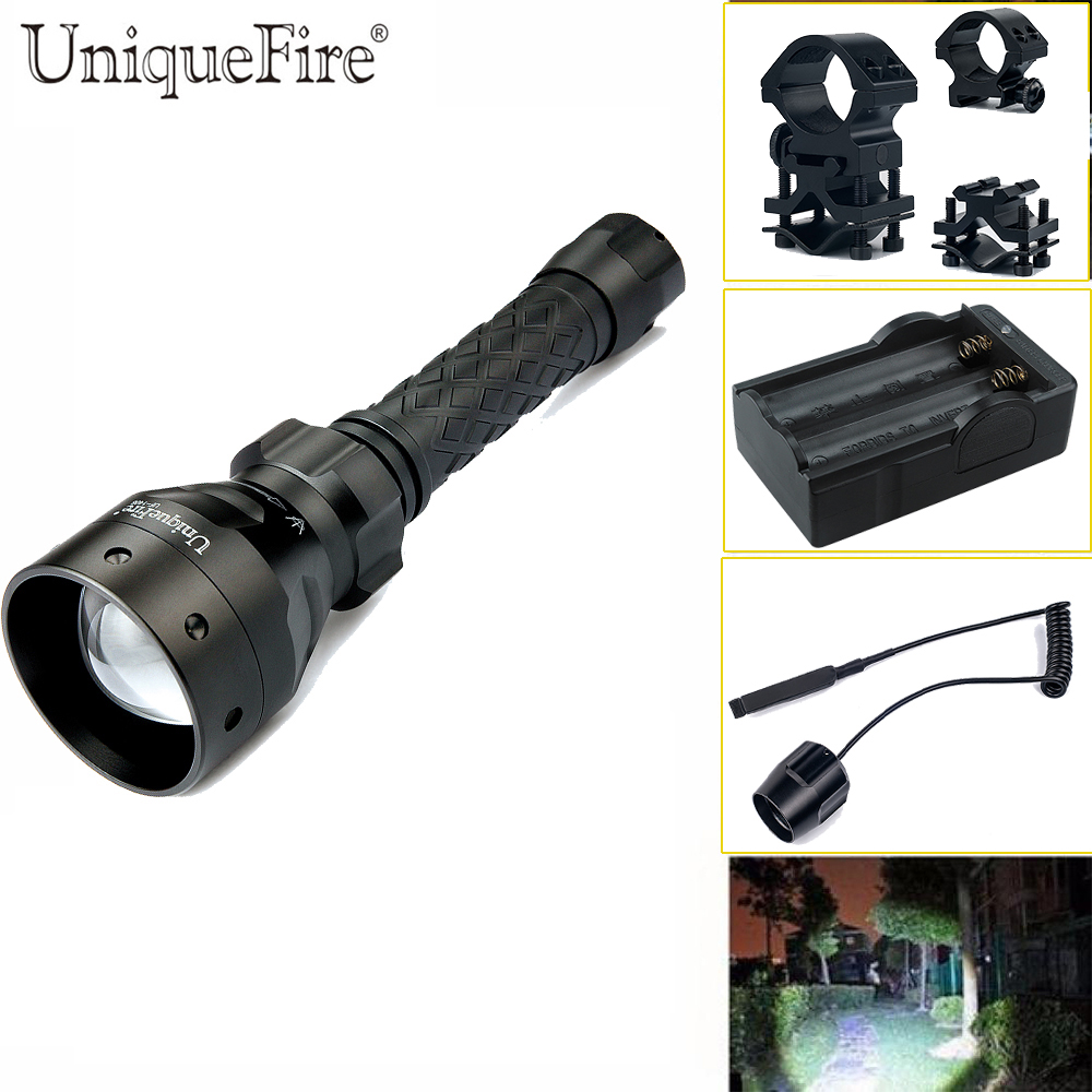 UniqueFire UF-1406 XM-L2 Cree Flashlight 1200 High Lumens Rechargeable LED Torch+Gun Mount+Rat Tail+Charger