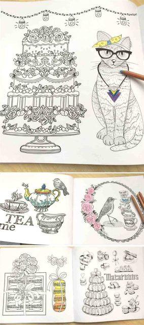 Online Shop Pleasant Afternoon Tea colouring book Children Adult ...