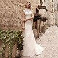 Vestido de noiva New Sexy Sereia Do Vestido de Casamento 2017 de Alta Pescoço da Luva do Tampão Tribunal Trem Lace Tulle Vestidos de Noiva WM143