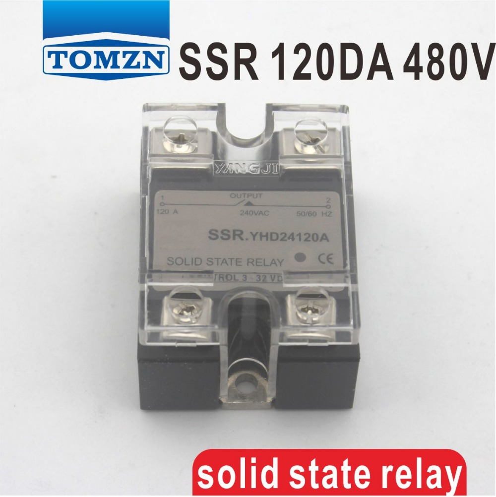120DA SSR Control 3-32V DC output 24~480VAC High voltage single phase AC solid state relay dc ac single phase ssr solid state relay 120a 3 32v dc 24 480v ac