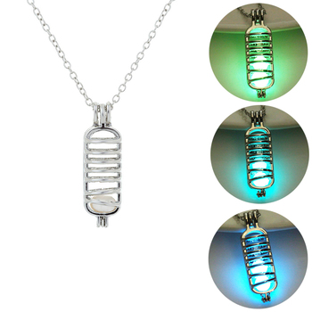 DNA Mitochondria Pendant Glowing in Dark Necklaces 2019 New Fashion Jewelry Hollow Luminous Stone Necklaces Silver Color Chain N image