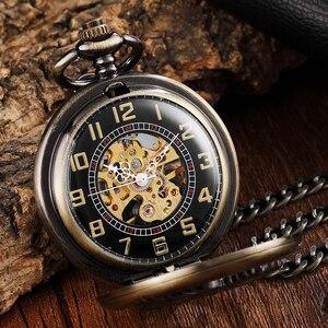 Image 2 - Reloj de bolsillo Steampunk para hombre, Caballo de bronce Reloj de bolsillo mecánico, cadena, caballo hueco, diseño de Pegaso