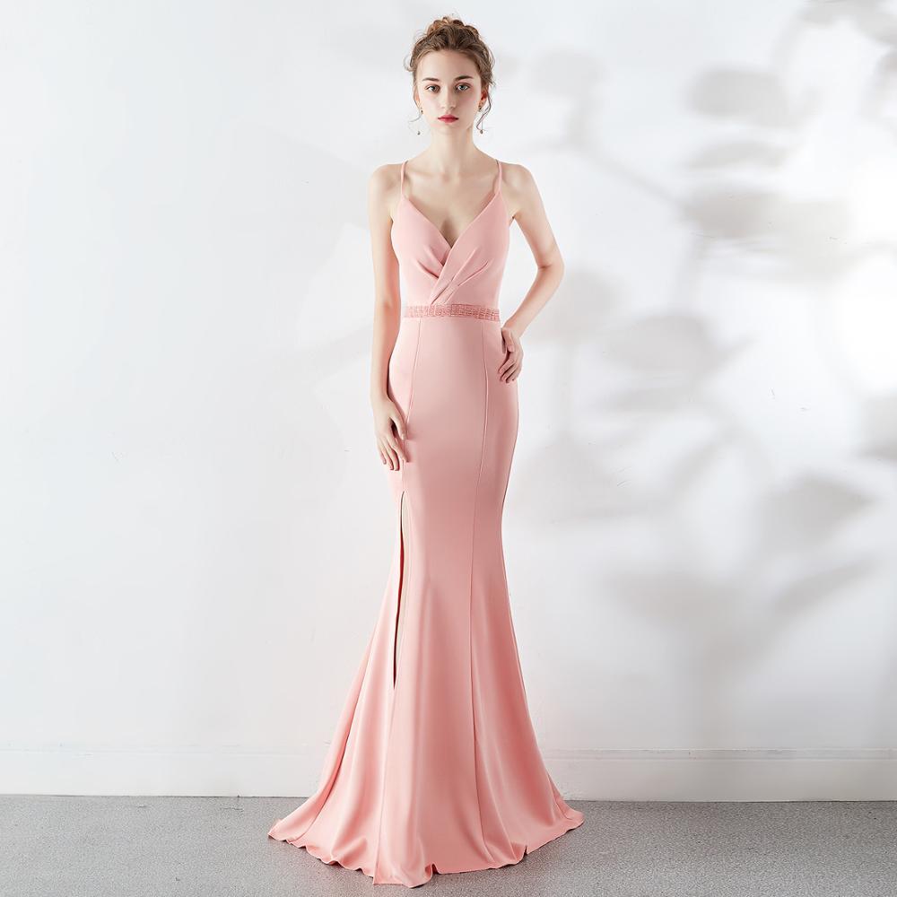 Women Formal Party Long Dress Sexy Backless Bodycon Evening Party Dress Elegant Pink Maxi Mermaid Ball Dress Vestidos