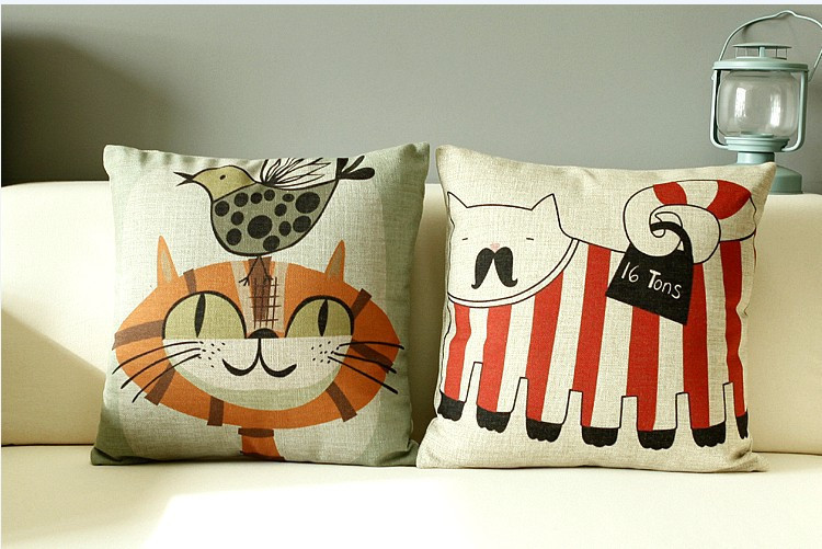 abstract lovely big fat cat cushion cartoon cat pillow linen pillowcase office home decor sofa cushions - Big Lots Home Decor
