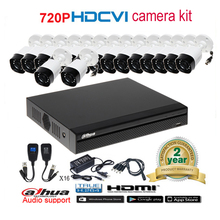 Dahua original 720P DH-HAC-HFW1000R waterproof CVI IR Bullet Security Camera with H.264 16CH CVI DHI-XVR4116HS camera kit