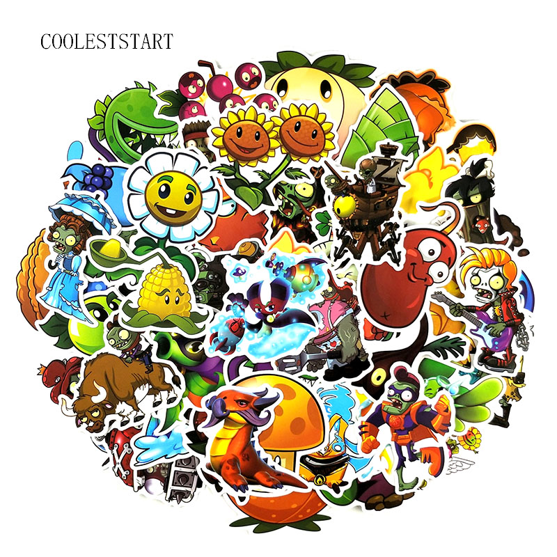 50-100Pcs Cartoon Plants Vs. Zombies Game Stickers  For Laptop Luggage Motorcycle Skateboard Luggage Guitar Graffiti Pegatinas