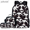 Рюкзак jackhereluk для мальчиков и девочек с принтом милых животных/бамбуковых панд  комплект из 3 предметов  школьная сумка для студентов