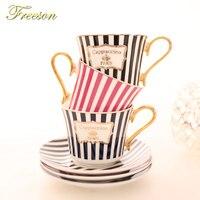 Лаконичная полоса костяного фарфора кофейная чашка блюдце Золотая ложка набор изящная керамическая чайная чашка 225 мл фарфоровая чашка каф...