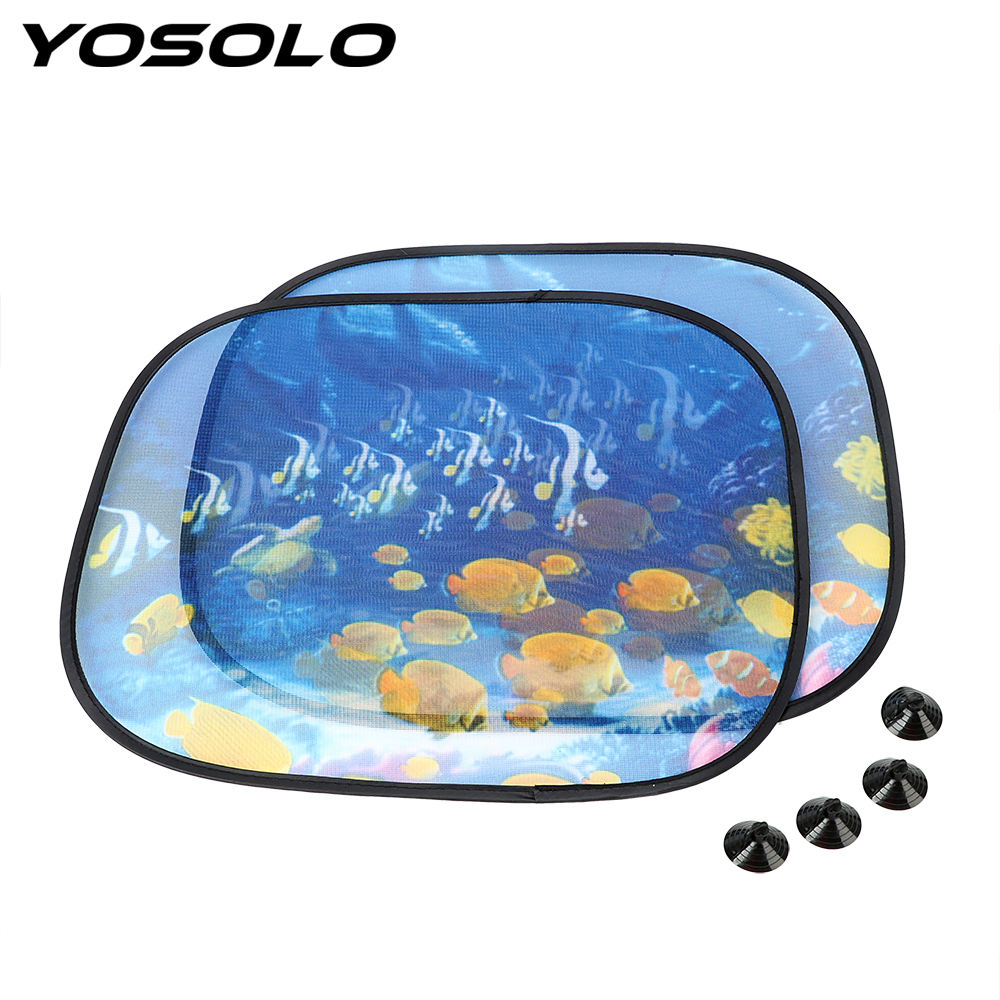 YOSOLO 2Pcs Car Curtain With Suction Side Window Screen Sunshades Windshield Shade Windscreen Cover Car-styling Auto Accessories