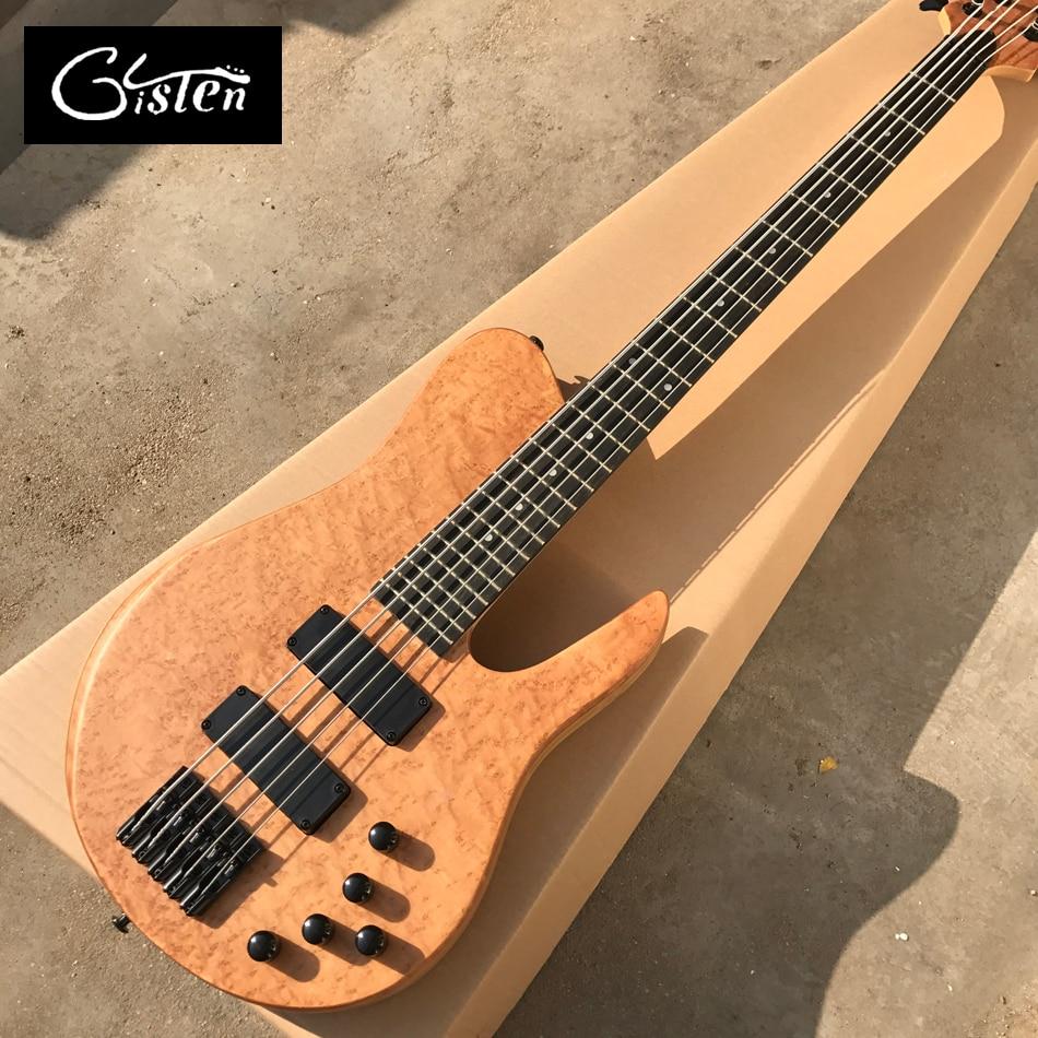 New Arrival, Factory Custom 5 strings Electric Bass guitar, Ebony fingerboard, Active Pickups, Black Hardware, Free shipping epiphone ltd matt heafy signature les paul custom ebony