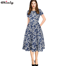 Oxiuly Blue White Porcelain Print Dress Vintage Pocket Tunic Loose Office Ladies Work Wear Round Neck Short Sleeve A-Line Dress