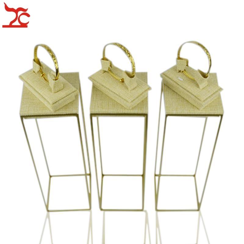 цена на Free Shipping 3Set Luxurious Jewelry Display Fram Rack 304 Stainless Steel Bangle Stand Linen Bangle Organizer Holder Stand