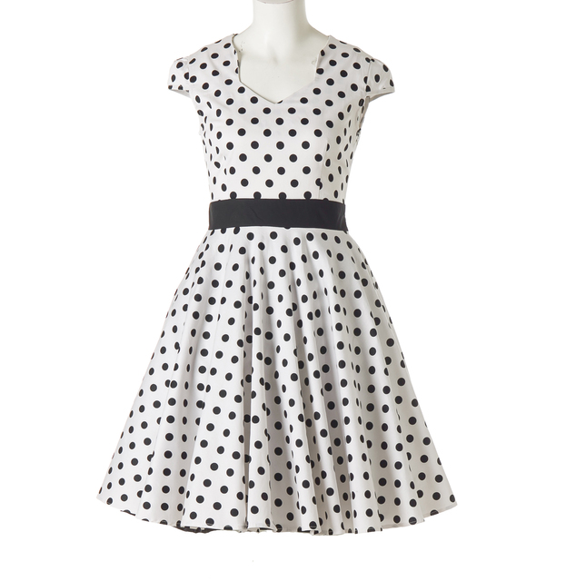 5e373dbdb0c3d US $32.37 |Candow Look Belle Poque Summer Womens Dresses V Neck Polka Dots  Retro Sexy Vintage 50s 60s Rockabilly Swing Pinup Party Dress-in Dresses ...