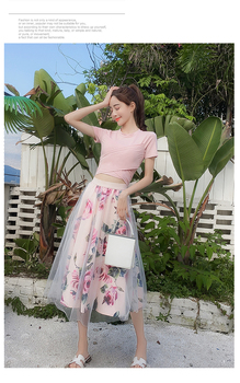 HIGH QUALITY Women Irregular T Shirt+Mesh Skirts Suits Bowknot Solid Tops Vintage Floral Skirt Sets Elegant Woman Two Piece Set 5