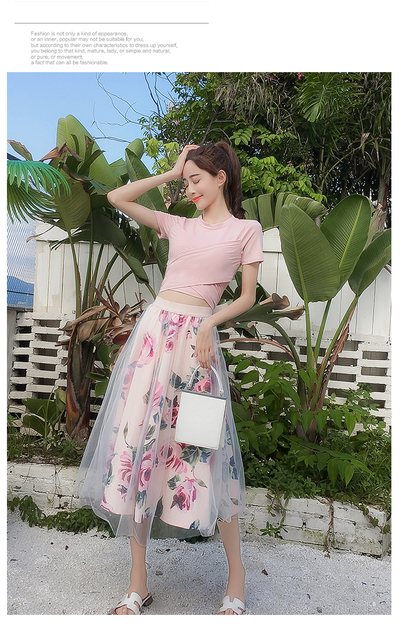 HIGH QUALITY T Shirt+Mesh Skirts Suits Elegant Two Piece Set 4