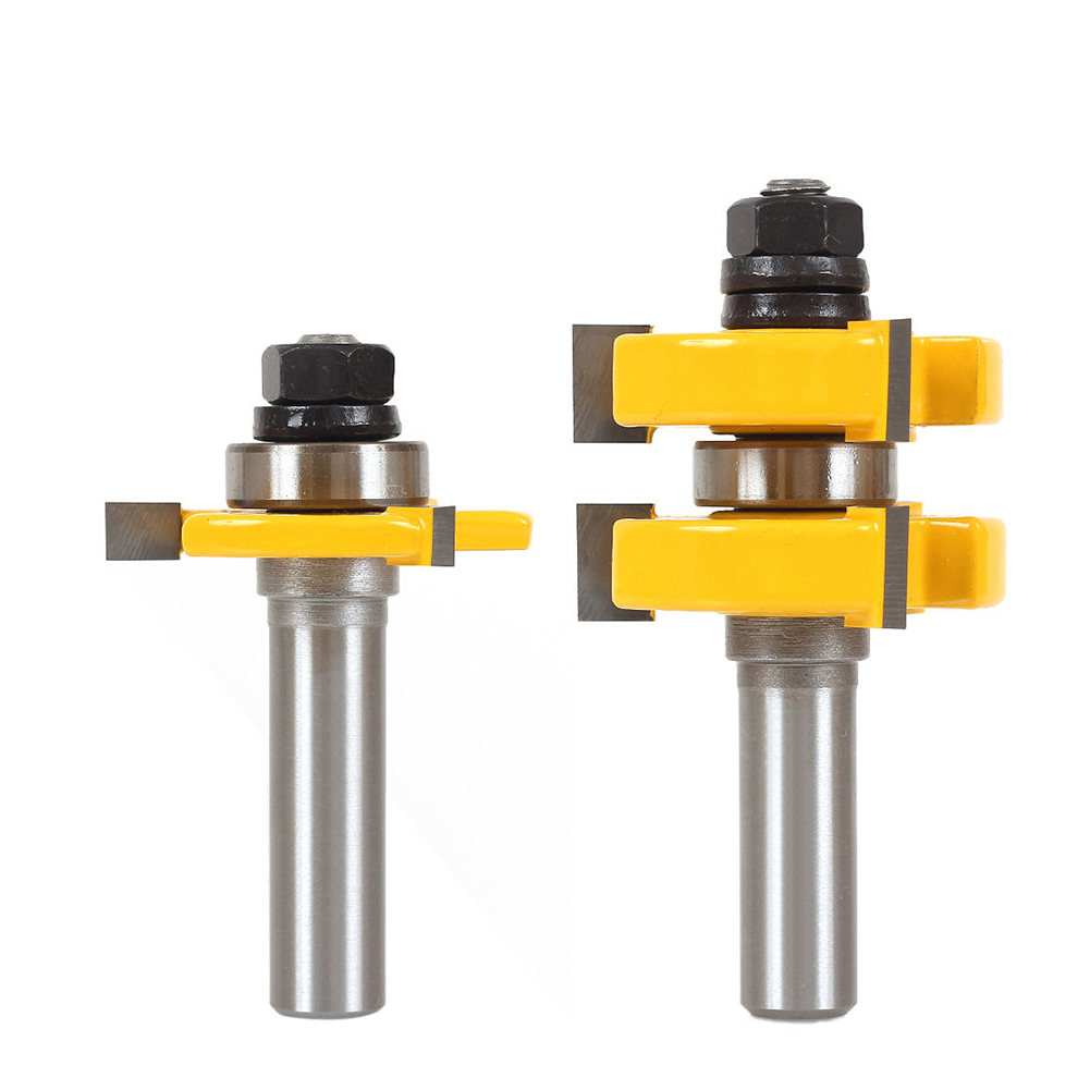 2Pcs Hard Alloy Tongue & Groove Router Bit Set 1/2 Shank Wood Milling Cutter Woodworking Tools high grade carbide alloy 1 2 shank 2 1 4 dia bottom cleaning router bit woodworking milling cutter for mdf wood 55mm mayitr