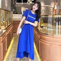 9bd9c1c7b 2019 New Summer Casual Brief Bow Elegant Vestido Loose Letter Irregular  Chic Dresses High Waist Korean